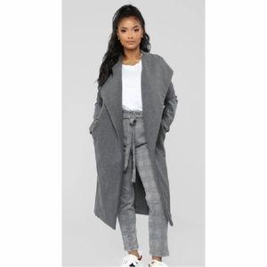 Fashion Nova lapel collar long open coat 1X CLO
